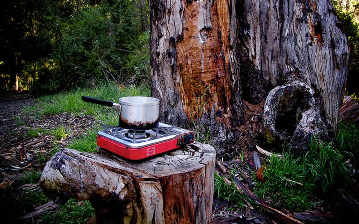Stove on Tree Stump