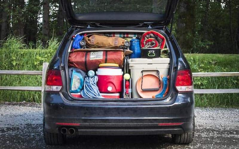 Car packed for camping